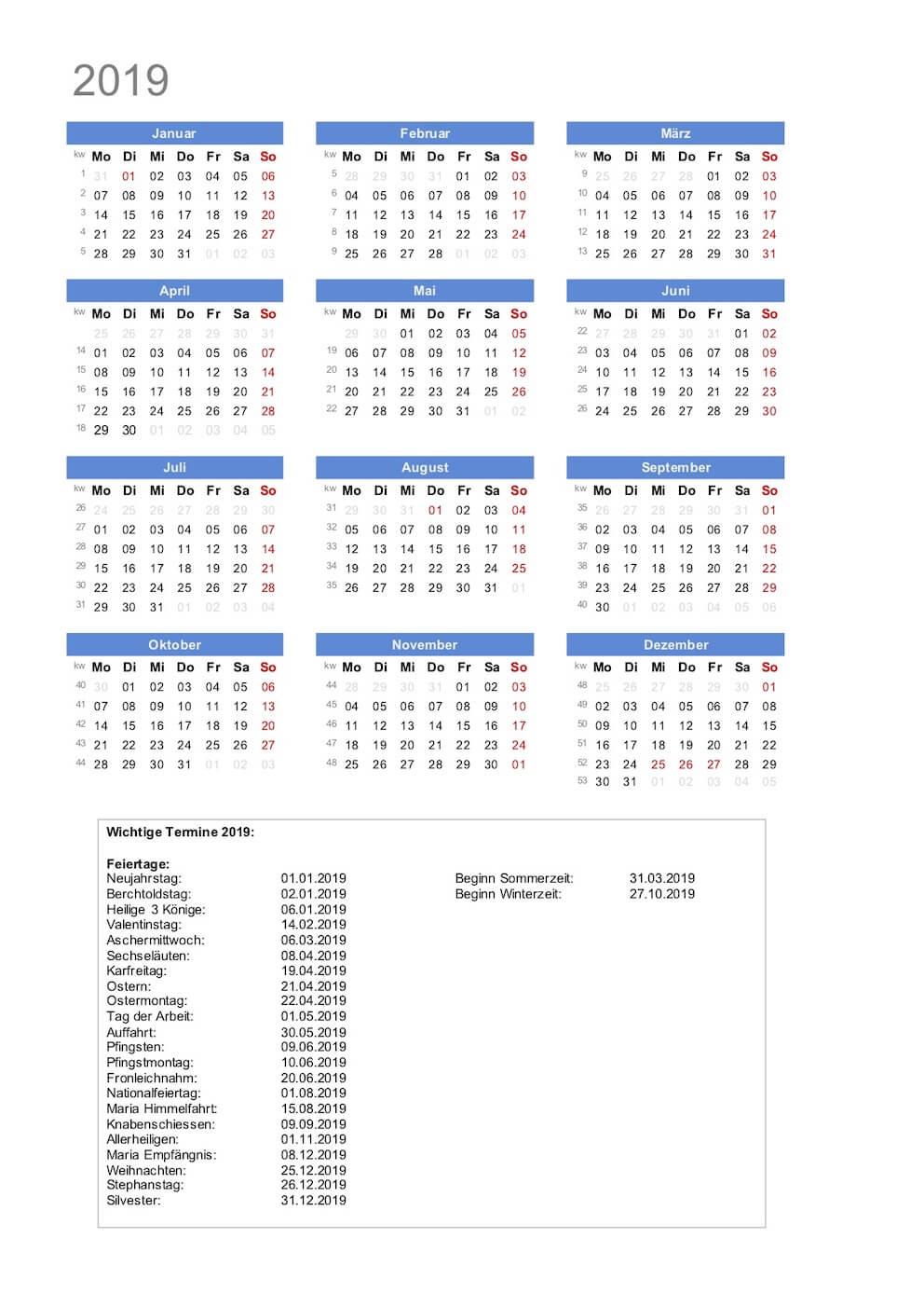 Kalender Weihnachten 2019.Kalender 2019 Schweiz Zum Ausdrucken Pdf Kostenloser Download