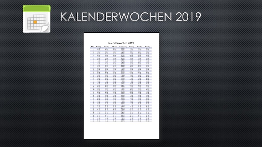 kalenderwochen 2019 schweiz excel pdf kostenloser. Black Bedroom Furniture Sets. Home Design Ideas