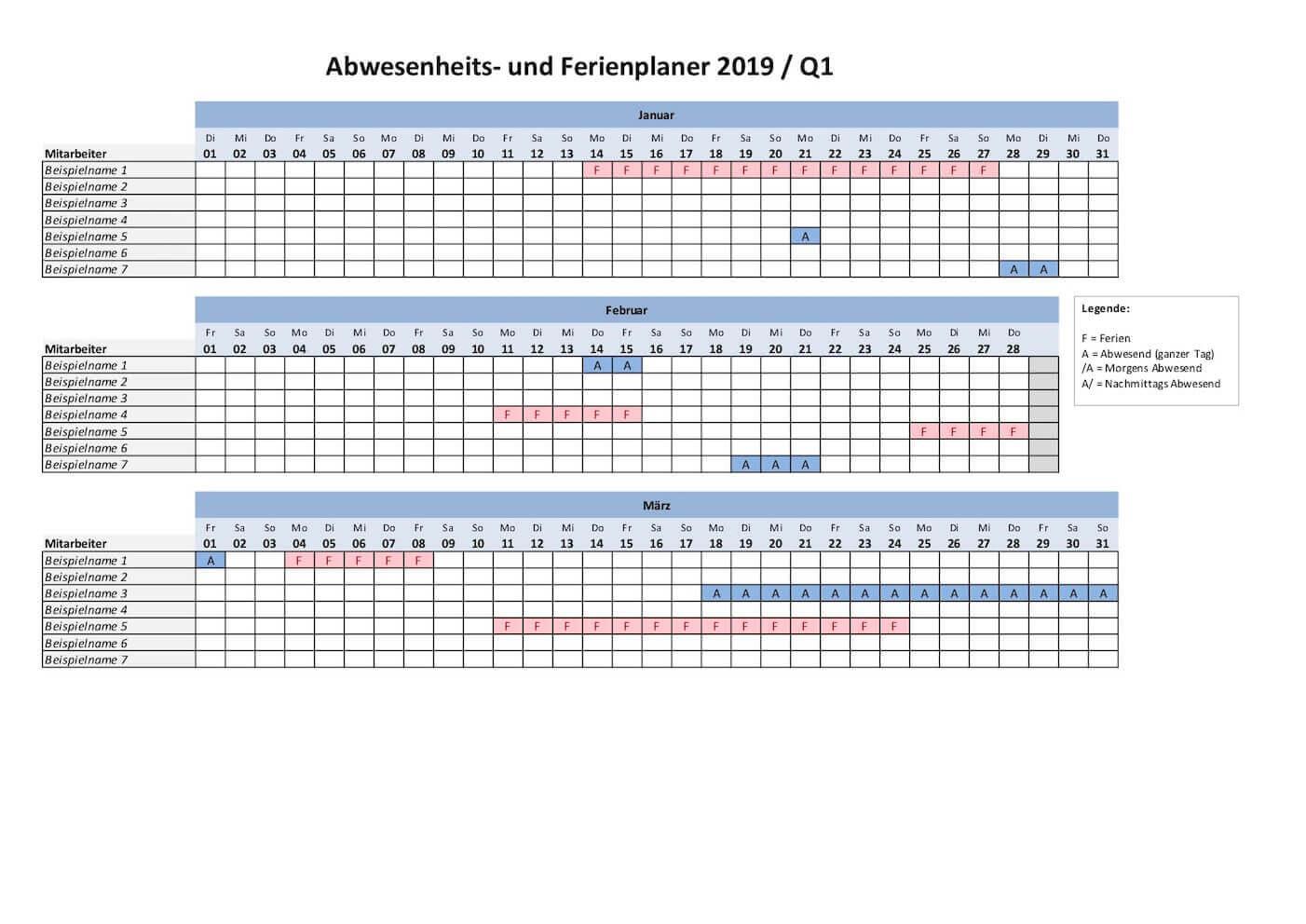 Ferienplaner 2019 Excel Vorlage Gratis Download Schweiz Kalenderch