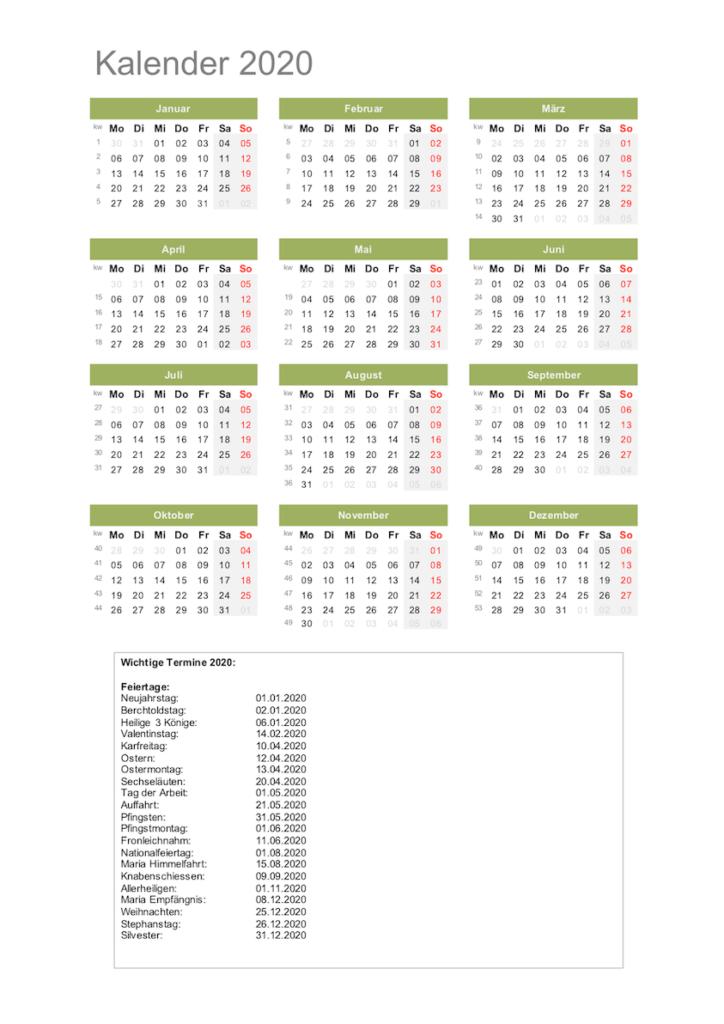 kalender 2020 schweiz  excel  mit feiertagen