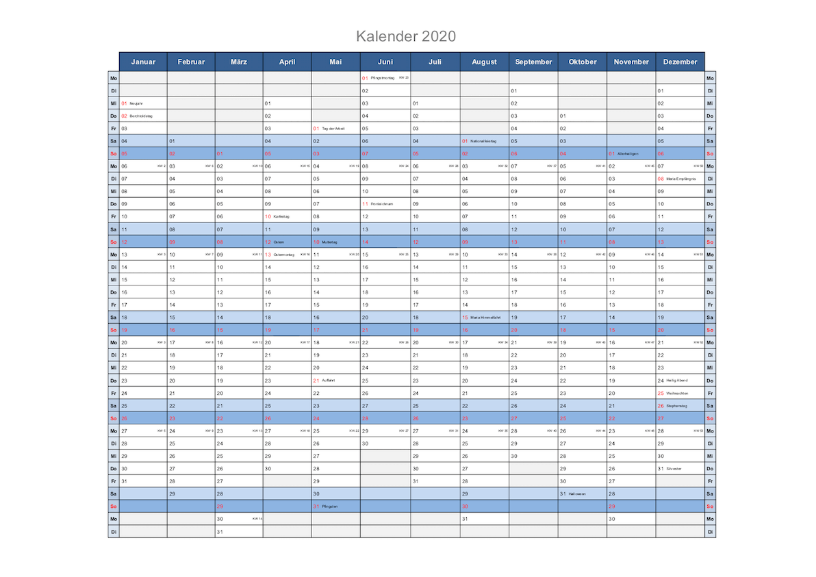 Kalender 2020 Schweiz Excel Mit Feiertagen Kostenloser