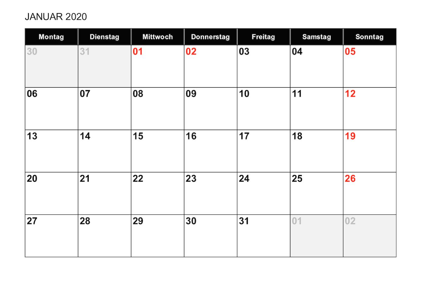Monatskalender 2019 Als Excelvorlage 1