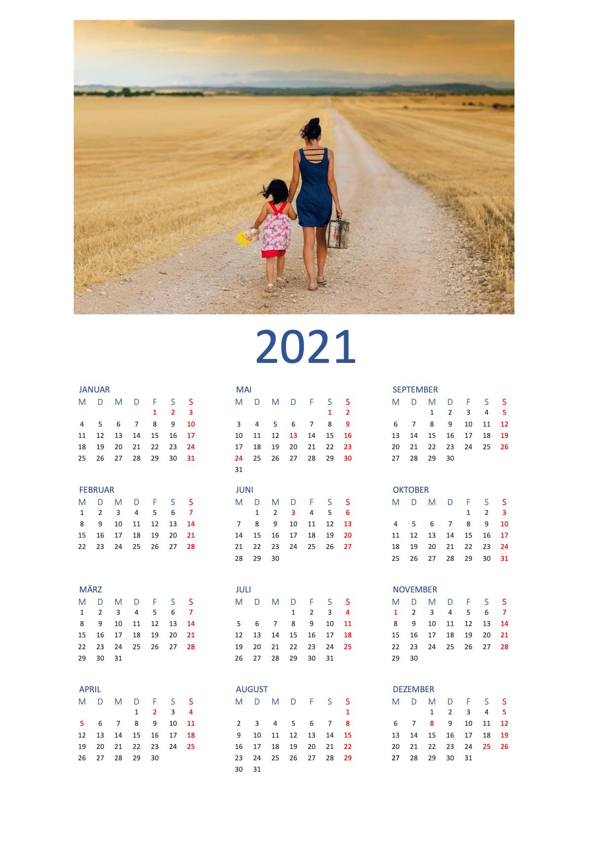 Fotokalender 2021 Vorlage   Gratis Word-Vorlage   Schweiz ...