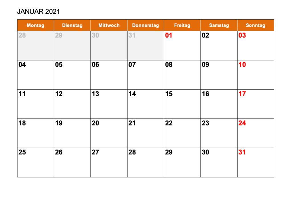 Kalender 2021 Format Excel : Kalender Januar 2021 Als ...