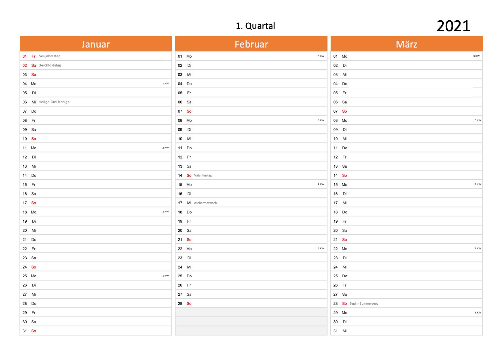 Quartalskalender 2021 Schweiz   Schweiz-Kalender.ch